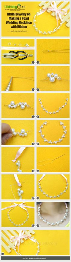Bridal Jewelry on Making a Pearl Wedding Necklace with Ribbon - Wedding Jewelry Pearl Necklace Wedding, Diy Necklace, Pearl Jewelry, Wire Jewelry, Jewelry Crafts, Wedding Jewelry, Beaded Jewelry, Jewelry Necklaces, Handmade Jewelry
