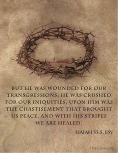 "Good Friday reflections on the suffering of the Lord Jesus Christ--""He was wounded for our transgressions..."""