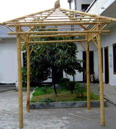 Pyramid Bamboo Pergolas Bamboo Garden Fences, Bamboo Trellis, Backyard Gazebo, Diy Pergola, Garden Gazebo, Tropical Patio, Tropical Houses, Terraced Patio Ideas, Bamboo House Design