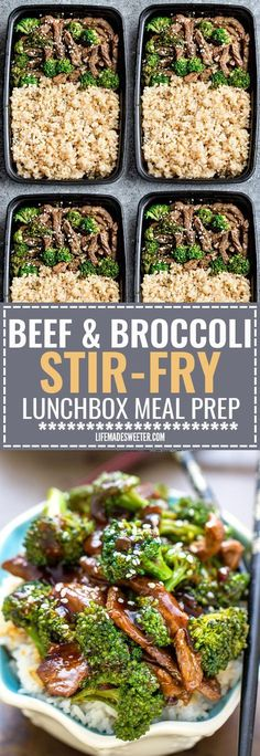 This Skinny Beef and Broccoli Stir-Fry makes the perfect easy weeknight dish full of authentic flavors. Best of all it's so easy to make with authentic flavors and way better than your favorite Chinese takeout restaurant. Great for Sunday meal prep and l Lunch Meal Prep, Meal Prep Bowls, Stir Fry Meal Prep, Easy Meal Prep, Beef Stir Fry Healthy, Sunday Meal Prep, Easy To Cook Meals, Stir Fry Meals, Meal Prep Freezer