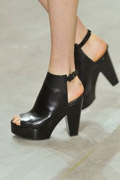 b9e39957079 Black leather chunky heel open toe slingback platform sandal booties.  NYFW  Theyskens  Theory
