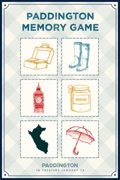 What better Saturday activity than a matching game? Print this out twice, and test your memorization skills with some of Paddington's favorite places and things. A free and educational activity printable to enjoy with your family.   Paddington