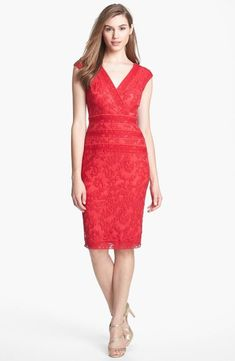 Tadashi Shoji Embroidered Dress Peppermint Red 14 # 195 NWT #TadashiShoji #Sheath #Cocktail