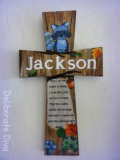 wooden crosses painted | Prayer Cross- Hand painted customized wooden cross with childs name ...