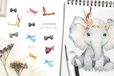 Ad: Babies of Africa. Watercolor Set by OctopusArtis on Look at these cute babies from Africa! We advise you to keep your eye on these cute lovely animals. This Watercolor Collection includes Baby Animals, Cute Animals, Giraffe, Elephant, Commercial Fonts, Graphic Design Company, Graphic Illustration, Illustrations, Floral Crown