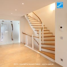 Saddle staircase in oak MB solid wood, with handrail solid oak wood, cheeks MB oak white lacquered, special railing More stairs under www. Best Interior Design, Interior Design Living Room, Vanity Room, Home Reno, Open Plan, Solid Oak, Living Spaces, Stairs, Layout