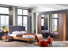 Yatak Odanızı 2020 Dekorasyon Trendi ile Donatmaya Ne Dersiniz? Walnut Bedroom, Sofa Design, Divider, Pastel, Curtains, Furniture, Home Decor, Insulated Curtains, Homemade Home Decor