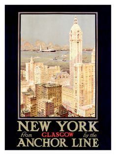 Anchor Line New York - Glasgow travel poster