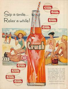 "Póster publicitario muy antiguo, de la bebida ""Orange Crush""."