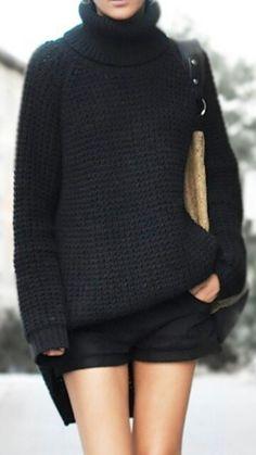 black turtleneck sweater and shorts