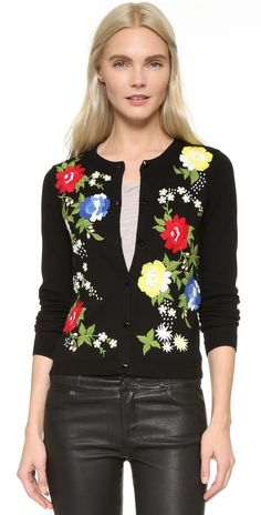 alice + olivia Elvira Floral Embroidered Cardigan | SHOPBOP