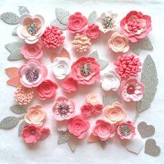 Hand made white/pink felt 3d flowers/roses & glitter leaves. Felt flower crown, flower headband, flower garland, baby headband, felt posies by cutzbothways on Etsy