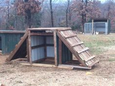 How to build a goat house. Practice homesteading with goats, and build a goat shelter with these goat house ideas. Keeping Goats, Raising Goats, Mini Goats, Baby Goats, Diy Wood Pallet, Pallet Barn, Wooden Pallets, Goat Feeder, Goat Playground