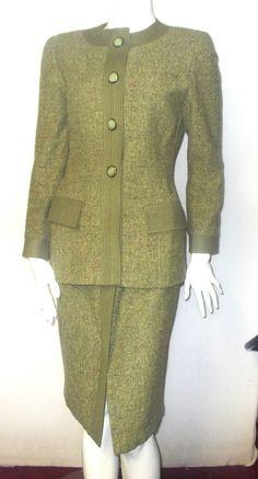 Misses Vtg Oscar De La Renta wool suit 6 S Small Olive green Skirt jacket lined #OscardelaRenta #Business