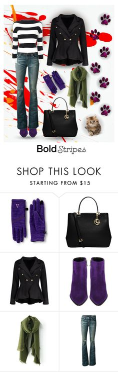 """Bold Stripes"" by papillon-ze-cat ❤ liked on Polyvore featuring Lands' End, MICHAEL Michael Kors, Barbara Bui, rag & bone/JEAN and Boutique Moschino"