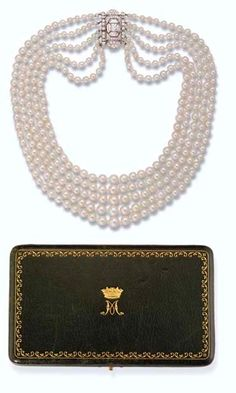 """Princess Margaret's 5- Row Art Deco pearl and diamond necklace ~ The necklace is a """"choker"""" under the modern system of classification of pearl necklaces, whose length ranges from 14"""" to 16"""" (inches). The Choker is the most popular category of necklace, suitable for both formal and casual occasions."""