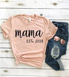 mom shirts Mama Est Shirt / New Mom Shirt / Pregnancy Announcement Shirt / Mom Shirt / Mom Shirt With Sayings / Mom life Shirt / Gift For Mom - Mama Shirts, Mom And Me Shirts, Girl Mom Shirts, Family Shirts, Kids Shirts, Pregnancy Announcement Shirt, Funny Pregnancy Shirts, Pregnancy Cartoon, Pregnancy Clothes