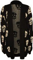 PaperMoon Womens Plus Size Skull Long Sleeve Knitted Cardigan