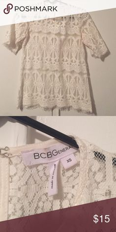 SOLD BCBG white crotchet top!!! Worn only a few times. In good condition! ABSOLUTELY NO TRADES!!! BCBGeneration Tops Blouses