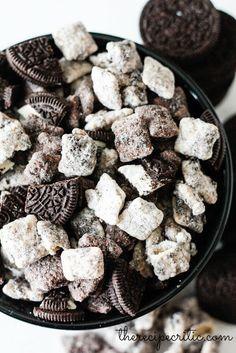 Oreo Puppy Chow (AKA Cookies and Cream Muddy Buddies) | 18 Super Bowl Snacks That Make Watching Football Worth It