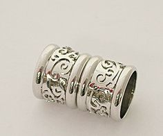 8 Millimeter End Caps, White Rhodium Plated Brass, Magnetic Silver Tone End Cap with Decorative Relief Design, Glue in End Cap