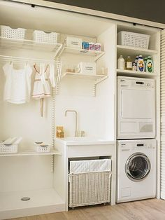 70 drying room design ideas that you can try in your home page 35 Basement Laundry, Laundry Closet, Small Laundry Rooms, Laundry Room Organization, Laundry Room Design, Laundry In Bathroom, Ikea Laundry, Closet Storage, Storage Room