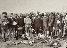 King George V of Great Britain hunting with Maharajah of Gwalior, Rajputana province - India, 1906. A tally of one tiger and two leopards.