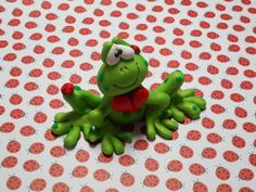 Polymer Clay Large Frog with Ladybugs and a Large by ClayBabiesInc