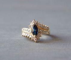 14k Gold Marquise Sapphire Ring - Vintage Sapphire Diamond Engagement Ring - 1980s Retro Anniversary Gift - September Birthstone