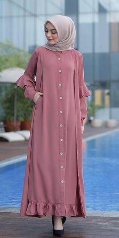 Gamis Muslim Women Fashion, Modern Hijab Fashion, Hijab Fashion Inspiration, Abaya Fashion, Mode Abaya, Mode Hijab, Muslimah Clothing, Dress Muslimah, Hijab Dress