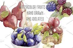 Watercolor hand drawn fruits set by NastyaVesna on @creativemarket