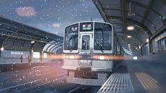 Anime, pleasant scene, snowy, train, platform , starry night