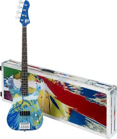 Multi-Coloured Deluxe Spin Bass Guitar - Damien Hirst and Flea from Red Hot Chili Peppers