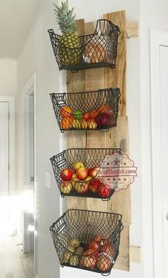 # diy # kitchen # storage # space # organization About How to Build a DIY Wall Mounted Fruit & Veggies Holder! Pin You can easily use my Mur Diy, Build A Wall, Diy Wand, Baskets On Wall, Wall Basket, Wire Baskets, Wire Basket Decor, Wire Basket Storage, Kitchen Baskets