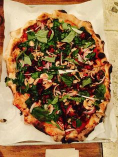 {Dinner Apr 27} Pizza from Urbn in North Park with tomato sauce, mushrooms, arugula, dried tomatoes and fresh basil. Feeling   nourished