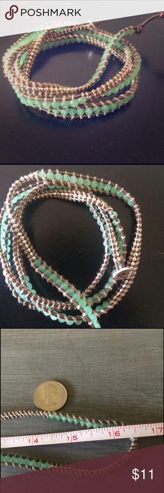 Faux Chan Lu bracelet Light greenish blue and gold multi wrap bracelet. Leather hook. Fancy and fun. And badass. Jewelry Bracelets