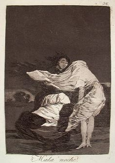 Francisco Goya, A Bad Night, Los Caprichos no. 36 - I don't think this Goya print has been pinned so here it is, as another reminder (to me) what is possible with aquatint. S