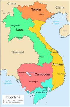 Tonkin was located in present-day northern Vietnam, shaded orange Vietnam History, Vietnam War, Battambang Cambodia, Pakse, Government Of China, Earth Book, Asia Map, Vientiane, Luang Prabang