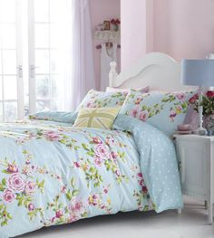 Duck Egg Blue & Pink Floral (or Spots) Reversible Girls Bedding or Curtains | eBay