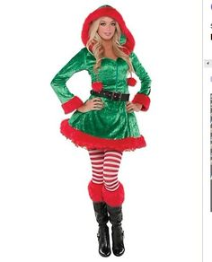 Adult Green Sassy Elf Costume, Sexy Christmas Costums, Christmas Costumes