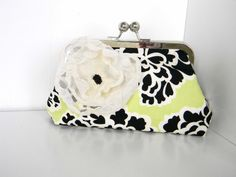 Clutch Purse Kiss Lock Black Floral Green Cream by CottageCarries, $43.00