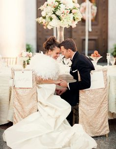 Add some sparkle to your wedding with these glitter chair covers your head table!