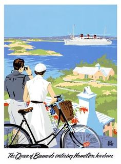 Adolph Treidler: The Queen of Bermuda entering Hamilton Harbour,  1930′s
