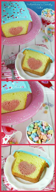 Lemon Valentines Day  Candy Cake. Super easy and delicious cake recipe and tutorial!  sewlicioushomedecor