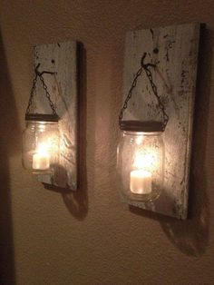 10 Clever DIY Candle Holders is part of Diy candles - wood Decoration Candle Mason Jars 10 Clever DIY Candle Holders Mason Jar Candle Holders, Mason Jar Candles, Mason Jar Lighting, Mason Jar Crafts, Diy Candles, Flameless Candles, Hanging Candles, Candle Lanterns, Citronella Candles