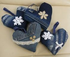 Recycled denim hanging heart
