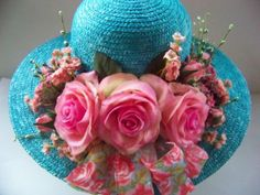 Hat  Ladies Straw Floral  Robins Roses by SuzieMdesigns on Etsy, $50.00