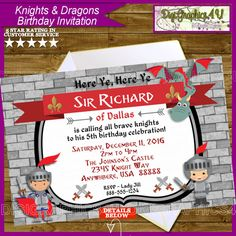Knights and Dragons Inspired Kids Birthday by DigiGraphics4u @etsy #knights #dragons #birthday #invitation #medieval