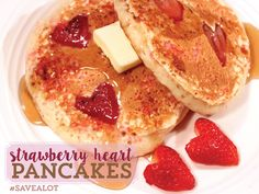Strawberry Heart Pancakes - Perfect for Valentines Day Breakfast!