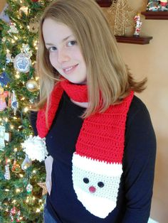 Pattern: Santa Scarf  Size: child/teen/adult  Description: This unique scarf fun for the holidays! Change out the hat color and have fun with this